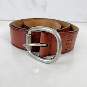Fossil Brown Leather Belt Silver Buckle Large